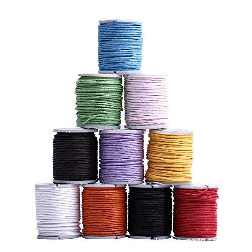 Heatigo Schmuckband, 10 Rollen Gewachste Baumwollschnur Wachsband Baumwollkordel 10m Ø 1mm für Schmuckherstellung DIY Handwerk Machen