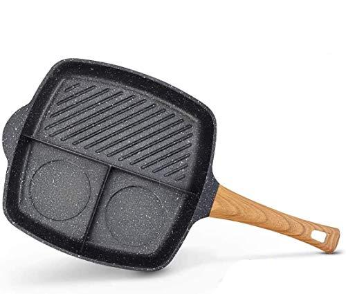 Leefrei. Grillpfanne 28 cm Aluminium beschichtet, Steakpfanne ideal zum knusprigen Braten, eckige Pfanne, Holzgriff