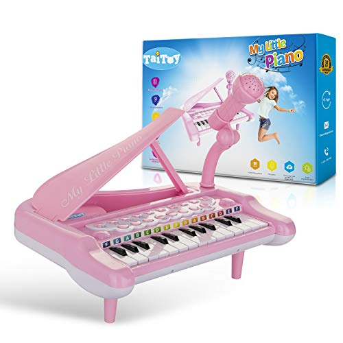 TaiToy Mini Keyboard Piano Toy for Toddlers with Karaoke Microphone, Electric Baby Grand Piano, Music Instruments for Kids, Musical Toddler Girl Toys Gifts for Age 1, 2, 3, 4, 5, Pink