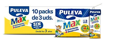 Puleva Max Leche Blanca de Crecimiento Y Desarrollo - 10 packs de 3 minibriks de 200 ml