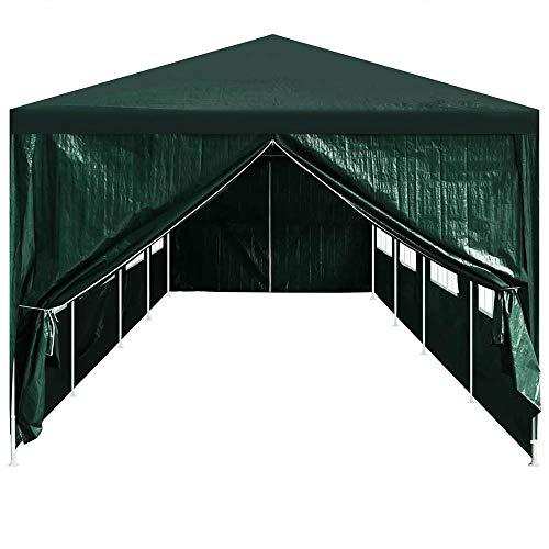 Autoshoppingcenter 2 pcs Party Tent Doors with Zipper, Gazebo Wall, Outdoor Curtain for Pergola, Front Porch, Cabana, Gazebo, Green 295 x 195 cm【UK STOCK】