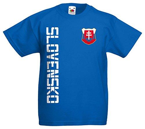 Slowakei Slovensko Kinder-Shirt Name Nummer Trikot EM-2021 Royalblau 164