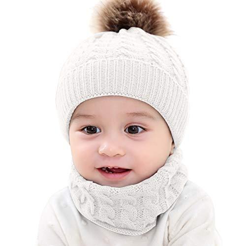 Tabpole Conjunto de Sombreros Y Bufandas para Bebés Punto de Invierno Cálido...