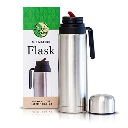 The Matero Flask – Yerba Mate Thermos  Tea and Coffee  Double Walled Vacuum Insulated  Stainless Steel  8 Hours Hot or Cold  BPA Free  All Day Thermos  Narrow Easy Spout  1 L  338 OZ