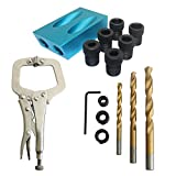 Pocket Hole Jig,15 Degree Oblique Locator Kit with C Clamps, 6/8/10mm Drill Bits Woodworking Puncher Hole Jig Kit for Carpenters Angle Drilling Holes 15PCS