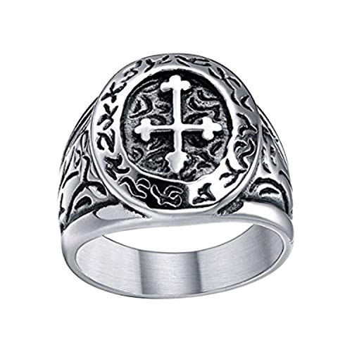 TIGRADE Stainless Steel Ring Vintage Celtic Cross Band Medieval Biker for Men Size 7-13 (9.5)
