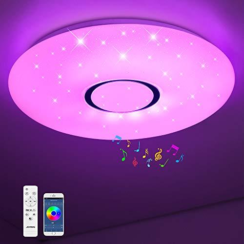 Bluetooth Deckenleuchte JDONG 36W Ø 50CM LED Deckenlampe mit Lautsprecher, Fernbedienung und APP-Steuerung, JDONG RGB Farbwechsel, dimmbar, sternen, IP44 Wasserfest