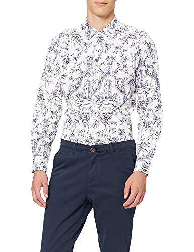 REPLAY Grover Camisa, 010 White/Blue, L para Hombre