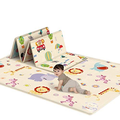Baby Spielmatte Klappbar, Teakpeak Baby Spielteppich Doppelseiten Krabbelmatte Baby wasserdicht rutschfest, 180 x 100 x 1cm