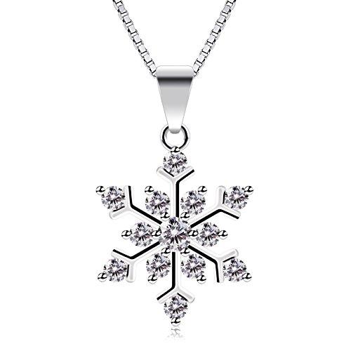 B.Catcher Halskette Schneeflocken Damen Kette Anhänger 925 Sterling Silber Valentinstag Geschenk\'\'Die Eiskönigin\'\'45cm Kettenlänge