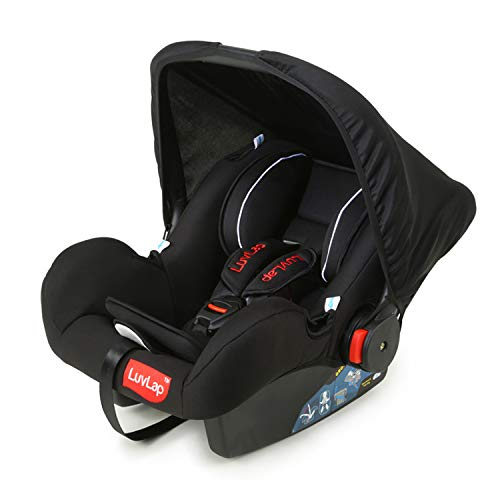 LuvLap 4-in-1 Infant/Baby Car Seat & Carry Cot with Canopy, 0 to 15 Months (Black)