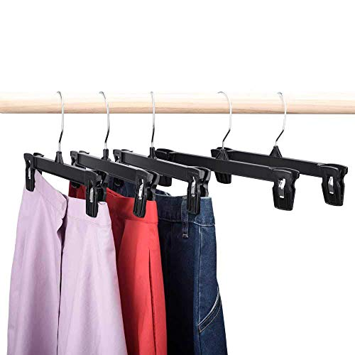 HOUSE DAY Skirt Hangers 25 Pcs 10inch Black Plastic Pants Hangers with Non-Slip Big Clips and 360 Swivel Hook, Durable Sturdy Plastic, Space-Saving...