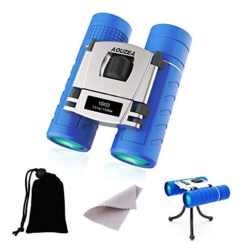 AOUZEA 10x22 Mini Fernglas, Fernglas Kompakt mit Flanelltasche und Kleine Klammer, Geeignet für Vogelbeobachtung, Wandern, Sightseeing, Geeignet als Erwachsene Fernrohr und Fernglas für Kinder