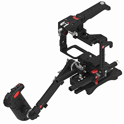 JTZ DP30 Camera Cage with 15mm Rail Rod Baseplate Rig and Top Handle+Shoulder Pad and Electronic Handle Grip for Panasonic GH3 GH4 GH5 GH5s DSLR Camera