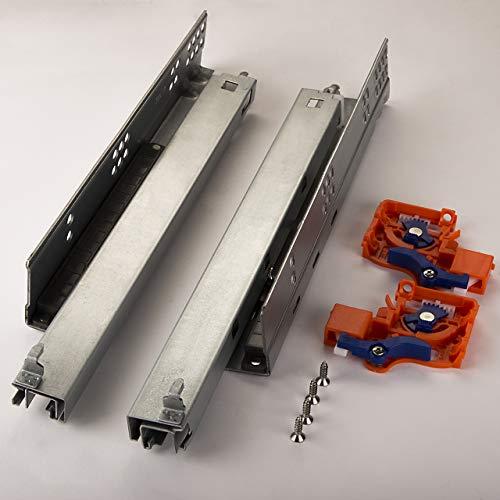 SOTECH 1 Paar FullSlide Schubladenauszüge UV2-25-K1D-L350-PP Länge 350 mm für Holzschublade Unterflurführung mit Push-to-Open Drucköffner