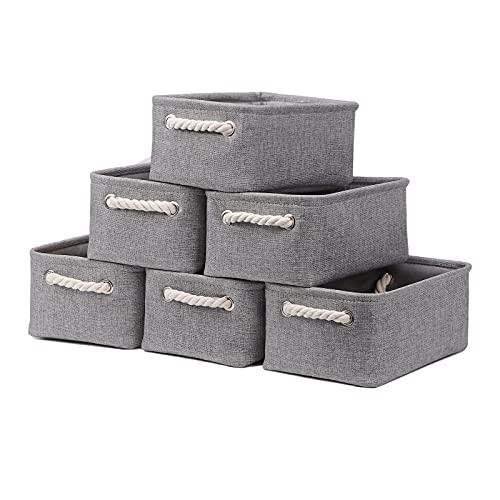 Cestas pequeñas para estantes (6 unidades), cestas de almacenamiento de tela, cestas vacías de regalo con asas de cuerda, cestas de almacenamiento plegables decorativas para...