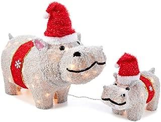 Home Collection Fuzzy Hippos Set Sculpture Outdoor Christmas Decoration Yard Lawn Garden Sculpture Seasonal Display