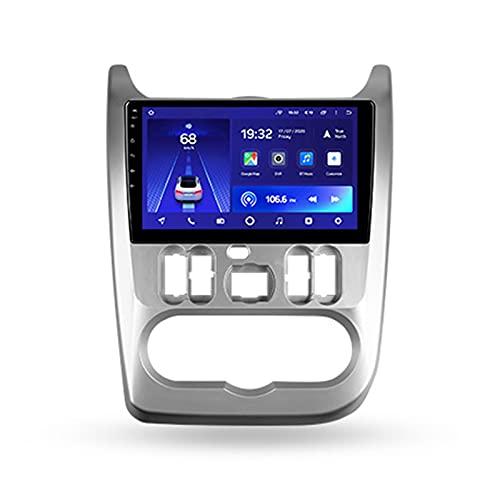 Android 10 ONE DIN Autoradio Mit GPS Navi Für Renault Logan 1 2009-2015,Mit 9'' Touchscreen Rückfahrkamera Bluetooth Lenkradsteuerung Spiegel Link 4G LTE+5G WIFI 3D Echtzeit-Fahrdynamik,Cc2l,1+16G