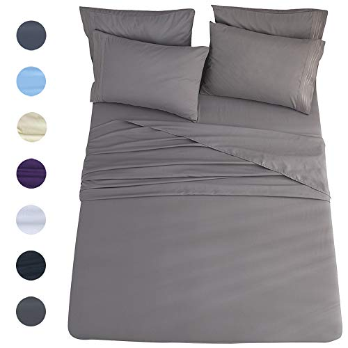 Shilucheng King Size 6-Piece Bed Sheets Set Microfiber 1800 Thread Count Percale 16 Inch Deep Pockets Super Soft and Comforterble Wrinkle Fade and Hypoallergenic(King,Dark Grey)
