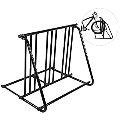 Bike Stand Rack, Bike Parking Rack Stand Bicycle Storage Floor Mount Iron Pipe Cycle Holder Great for Parking Road, Mountain, Hybrid or Kids Bikes