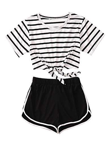 Yesgirl Shorts und Top Sets Zweiteiler Damen Sommer Mädchen 2 Teile Strand Streifen Tie Up Bauchfrei Crop Tops mit Sport Kurze Hose Set Gestreift T-Shirts Hosen Anzug Beachwear Weiß XS
