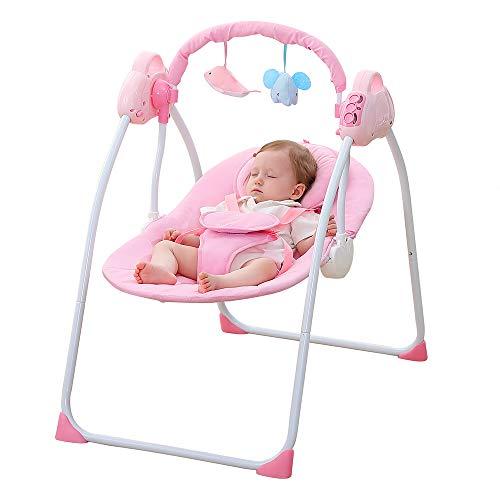 LYN&xxx Baby-Schaukel Und Stuhl, elektrische Babyschaukel Türsteher Stuhl Rocker Sitz mit abnehmbarem Moskitonetz Geschenk für New Born Baby,Rosa