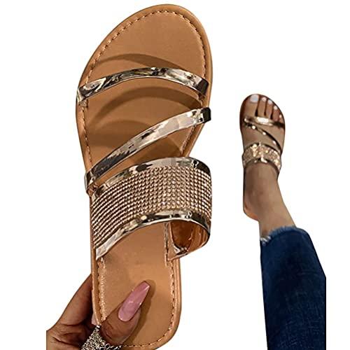 Minetom Damen Sandalen Sommer Strass Glitzer Zehentrenner Glänzend Sandaletten Flache Flip Flops Pantoletten Strand Schuhe D Gold 39 EU