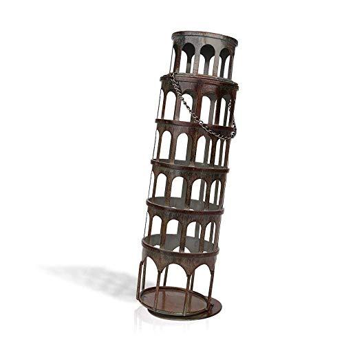 PYROJEWEL Arte Decoraciones artesanía de decoración del hogar del Metal Torre Inclinada Regalo botellero