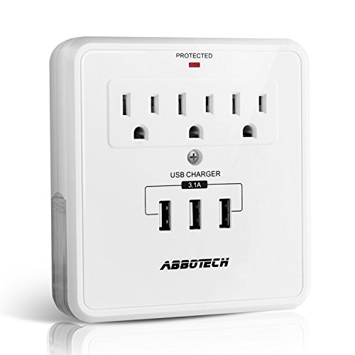 AbboTech Multi Outlet Plug Wall Mount Adapter High Speed Surge Protector With 6AC Outlets And 2USB Charging Ports,White,ETL Certified