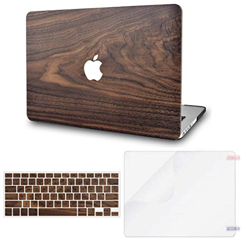 KECC Laptop Case for MacBook Air 13' Retina (2020/19/18, Touch ID) w/Keyboard Cover + Screen Protector Plastic Hard Shell Case A1932 3 in 1 Bundle (Walnut Wood)