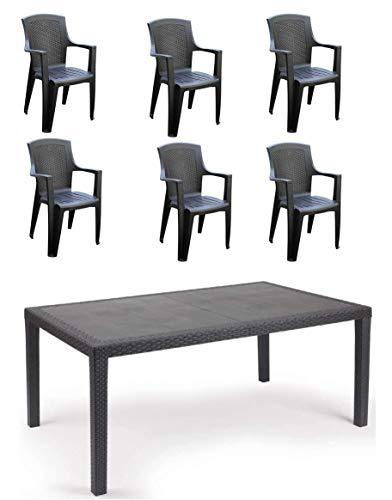 Tomaino Set 1 Tavolo + 6 sedie da Giardino in plastica