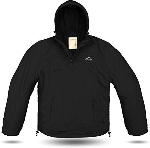 Herren Outdoor Windbreaker Myrsky Anorak mit Fleece-Futter und Kapuze Farbe Schwarz Größe XL