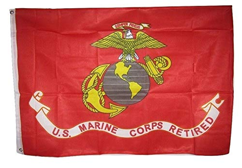 3x5 US USMC United States Marines Marine Corps Retired Flag 3'x5' Banner Vivid Color and UV Fade Resistant Canvas Header and polyester material