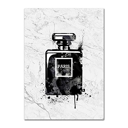 PEKSLA Lienzo de pared arte no tejido botella de perfume lápiz labial maquillaje 40x60cm sin marco impreso en lienzo arte de pared para decoración de hogar cocina