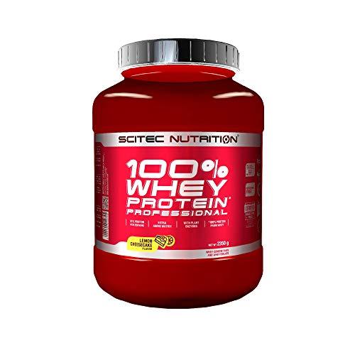 Scitec Nutrition 100{2a70b4be456b5cbab8e654aa0b99b9254f7de1d7de6a9985289480a42a9644b0} Whey Protein Professional con aminoácidos clave y enzimas digestivas adicionales, 2.35 kg, Limón-Tarta de queso