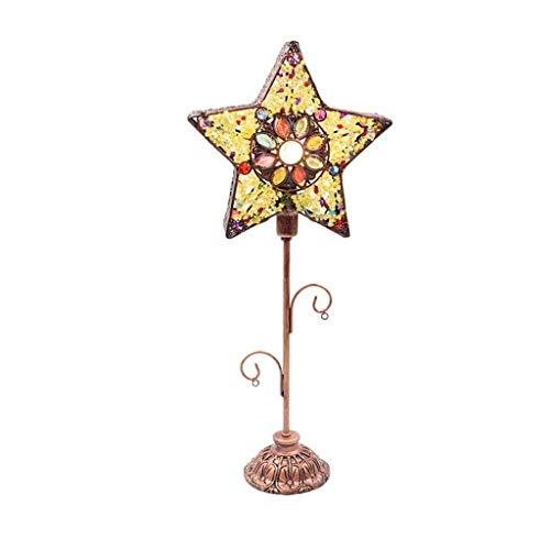 JYDQM Lámpara de Mesa de Estrellas de Hierro Forjado Retro escandinavo Cafe Bar Restaurante Luz de Escritorio de Estilo mediterráneo (Interruptor de botón E14 Fuente de luz)