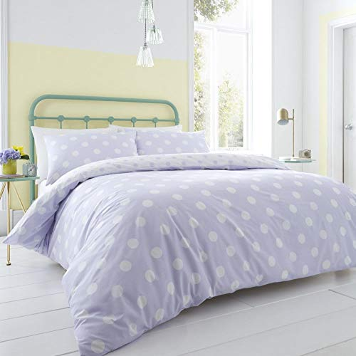 Catherine Lansfield Polka Dot Easy Care Double Duvet Set Lilac