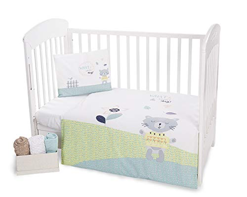 Kikka Boo Parure de lit pour bébé 3 pièces 100 x 150 cm Motif chat et chiot sur ballon
