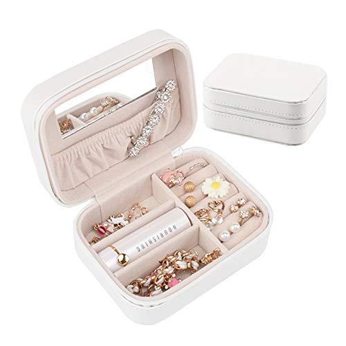 Botanka Mirror Jewelry Case, Portable Zipper Jewelry Organizer, Travel Small Storage Box (White)