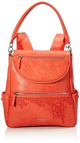 Desigual PU Backpack Medium, Sac à Dos en polyuréthane Taille Moyenne Femme, Orange, M
