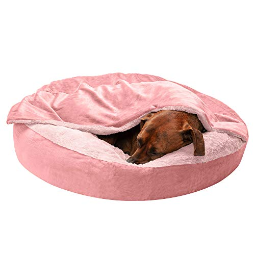 Furhaven Pet Dog Bed - Round Plush Faux Fur Waves and Velvet Ultra Calming Anti-Anxiety Hooded Tufted Pillow Cushion Donut Bolster Pet Bed for Dogs and Cats, Rose Pink, Medium