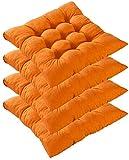 Queta 4 pcs Cojines Decorativos para Asiento, Cojines para sillas, de poliéster, para Interior y Exterior, para Cocina, jardín, Silla de Comedor (Naranja)