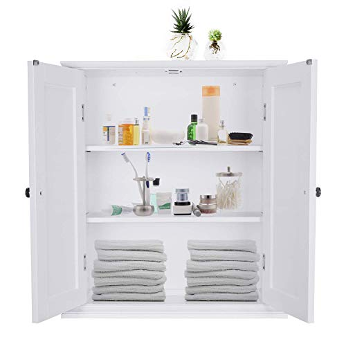 ChooChoo Bathroom Wall Cabinet, Over The Toilet Space Saver Storage Cabinet, Medicine Cabinet with 2 Door and Adjustable Shelves, Cupboard