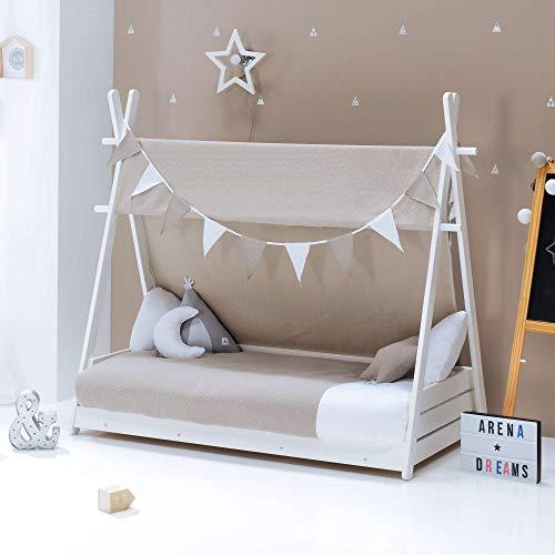 ALONDRA – Camita cabaña HOMY Montessori infantil para niños 70x140 completa con textiles. Incluye: toldo, nórdico, estructura casita tipi con somier, textiles ARENA 153 Beige, sin colchón