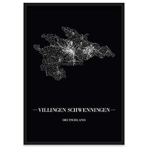 JUNIWORDS Stadtposter, Villingen-Schwenningen, Wähle eine Größe, 40 x 60 cm, Poster mit Rahmen, Schrift A, Schwarz