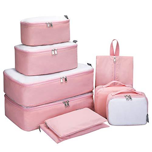 6 set/9 set Packing Cubes -G4Free Mesh Travel Luggage Bag Set Packing Organizer (Pink-9 set)