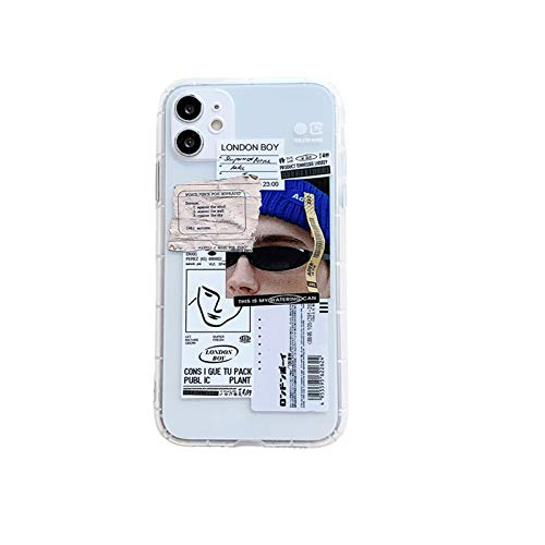 Moda retro etiqueta teléfono casos para iPhone 11 12 mini pro XS Max X XR 7 8 Plus Luxur suave TPU Airbag cubierta 12pro 11pro 12mini-4-para iPhone 12pro max