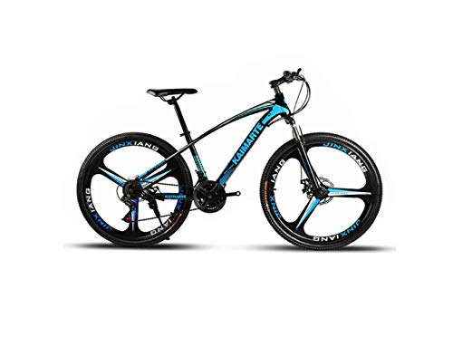 Bicicleta de Montaña Bicicleta de Montaña Unisex Bicicleta de Montaña de 21/24/27 Velocidad Acero de Alto Contenido en Carbono 26 Pulgadas Ruedas de 3 Rayos con Disco Y Freno Tenedor,Azul,27 velocidad
