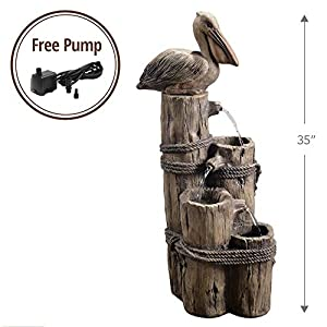 "Peaktop Outdoor Nautical 3 Level Waterfall 35"" fountain/Wood with Bird"