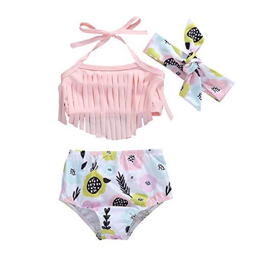 LXXIASHI Bikini-Badeanzug für Neugeborene, Kleinkinder, Mädchen, Quasten, Neckholder-Top, Blumenmuster, 2 Stück, Tankini